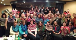 "The ""Rosaria"" shawls at the 2014 Yarn Ball. Photo by Michele Bernstein of PDXKnitterati"