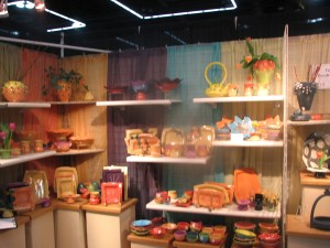 This display showcases bright colors and shiny glazes.