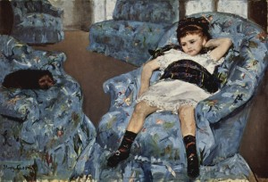 """""""Little Girl in a blue chair"""" by Mary Cassat"""
