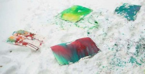 """Two acrylics """"drying"""" in the snow"""