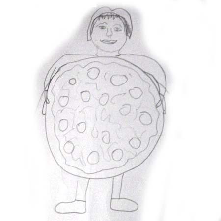 holdingthe pizza